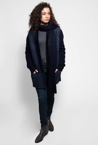 Liven Short Shearling and Wool Detachable Scarf Coat