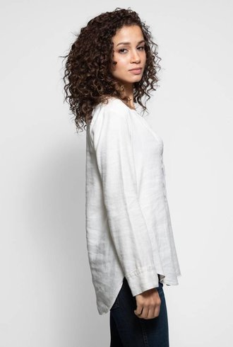 Raquel Allegra Linen Tencel Henley Blouse Dirty White
