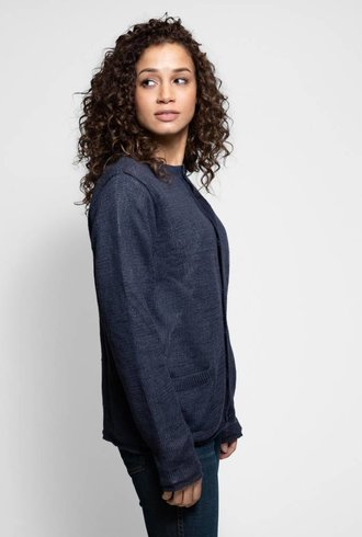 Vlas Blomme Cardigan with Stripe Lining Navy