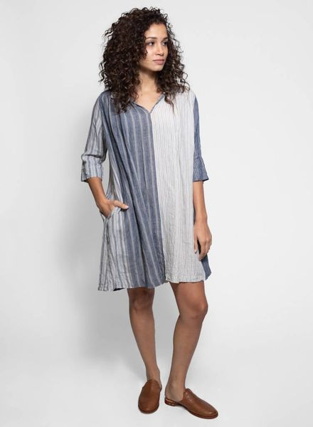 Vlas Blomme Panel Stripe Tunic Dress Light Grey