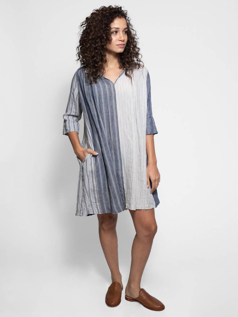 5256b6dd96 Vlas Blomme - Panel Stripe Tunic Dress Light Grey - Women s Clothing ...