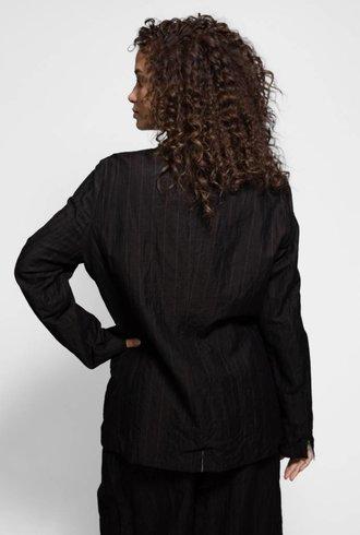 Vlas Blomme Linen/Cotton Stripe Blazer Dark Brown