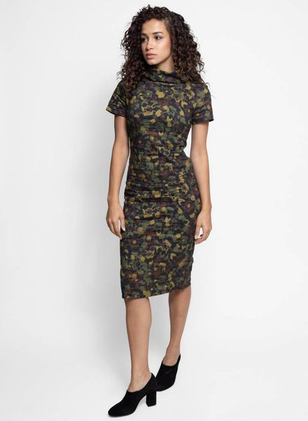 Nicole Miller Flower Camo High Neck Dress Camouflage