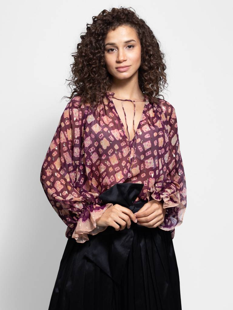 d99891f2b3a55 Ulla Johnson - Nailah Blouse Bordeaux - Women s Clothing Boutique ...