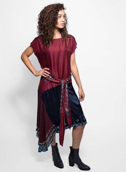 Raquel Allegra Tie Dye Scarf Dress Crimson