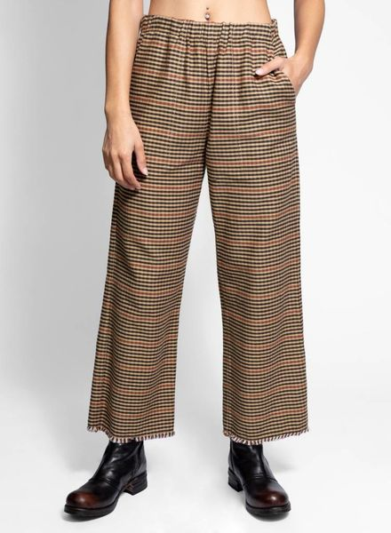 Raquel Allegra Cropped Pant Brown Natural Plaid