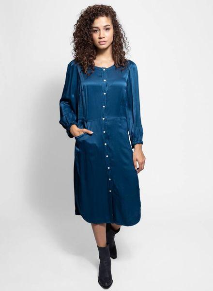 Raquel Allegra Puff Sleeve Shirt Dress Peacock