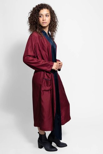 Raquel Allegra Wrap Trench Dress Crimson
