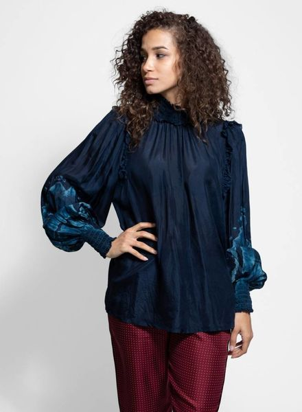 Raquel Allegra Victorian Blouse Peacock Tie Dye