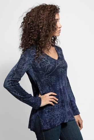 MA+CH Hi-lo V Neck Wallflower Indigo