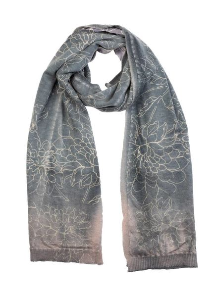 MA+CH Silk Backed Scarf Wallflower Taupe