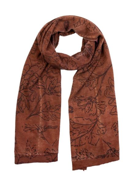 MA+CH Silk Backed Scarf Wallflower Rust