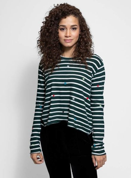 The Great The Long Sleeve Crop Tee Emerald Stripe
