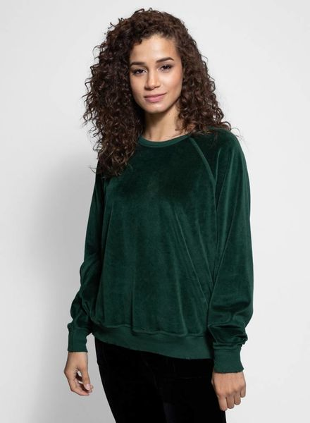 The Great The Velour College Sweatshirt Emerald