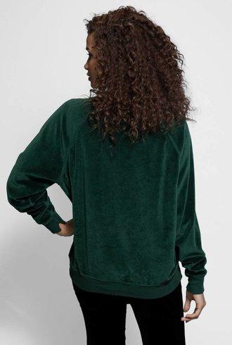 The Great The Velour College Sweatshirt Emerald