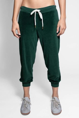 The Great The Velour Cropped Sweatpant Emerald