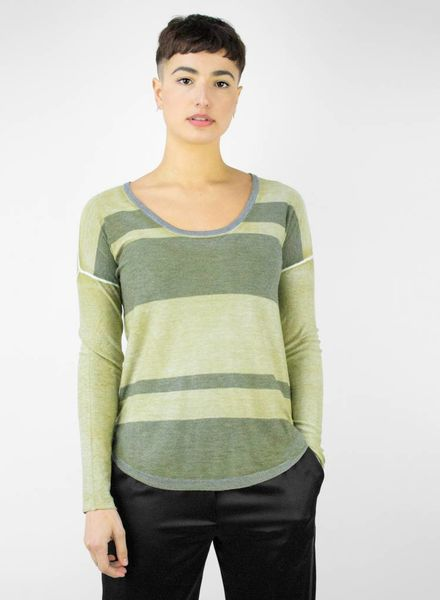 Kokun Overdyed Stripe Scoop-neck Kelp Grey