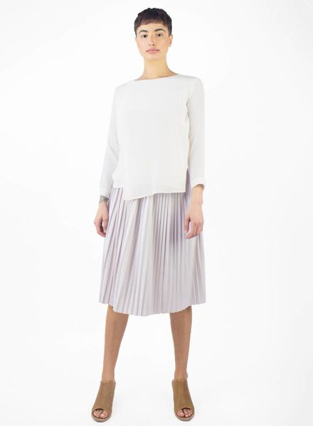 Pomandere Long Sleeve Pleated Skirt Dress Cream