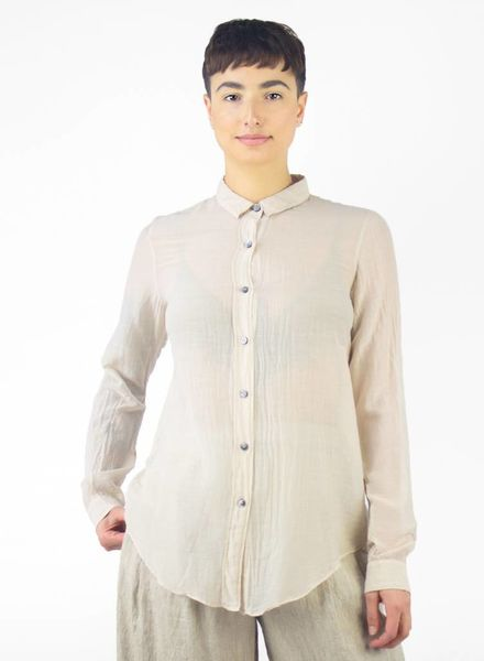 Pomandere Long Sleeve Collared Blouse Bisque