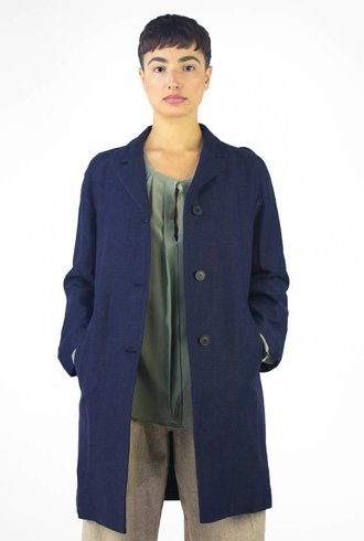 Pomandere Button Down Coat Navy