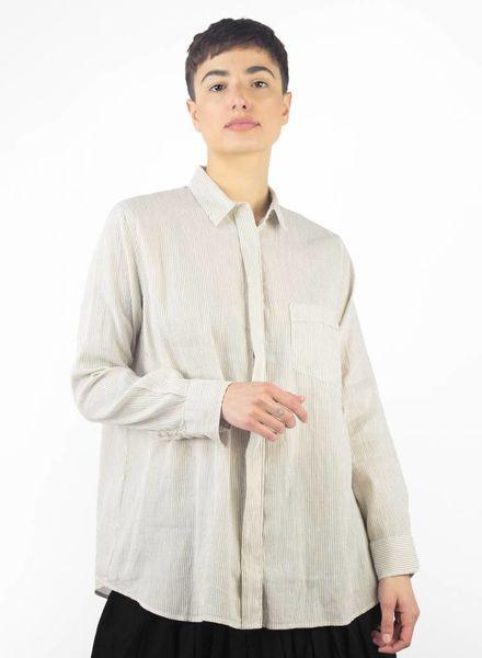 Pomandere Classic Button Down Shirt Natural Stripe