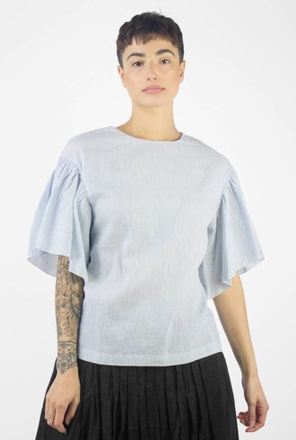 Pomandere Flutter Sleeve Top Blue Stripe