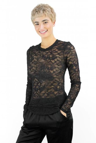 Raquel Allegra Long Sleeve Lace Tee Black