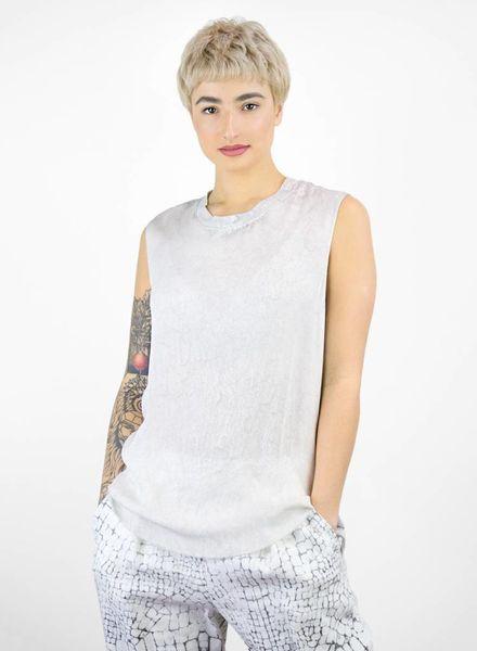 Raquel Allegra Rainwash Silk and Jersey Muscle Tee Dusty Grey
