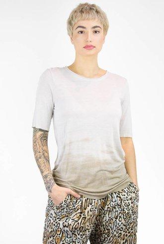 Raquel Allegra Tie Dye Rayon Jersey Basic Tee Sand