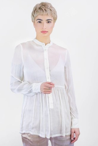 Raquel Allegra Vintage Stripe Empire Blouse Ivory