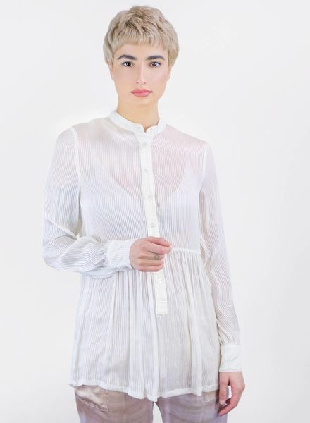Raquel Allegra Vintage Stripe Empire Blouse Ivory