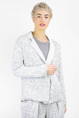 Raquel Allegra Moire Printed Gauze Reversible Blazer White