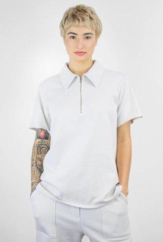 Raquel Allegra Vintage Fleece Zip Polo White