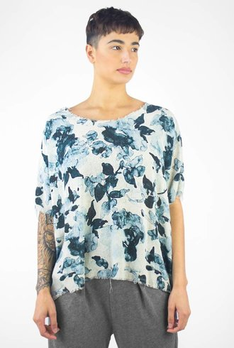 Raquel Allegra Watercolor Crop Tee Natural Floral