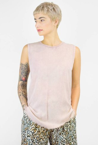 Raquel Allegra Rayon Lawn and Jersey Muscle Tee Acid Rose