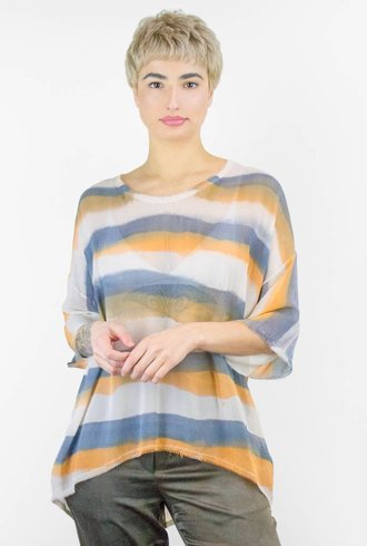Raquel Allegra Painted Stripe Chiffon Relaxed Tee Champagne Tiger