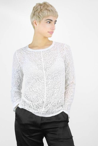 Raquel Allegra Summer Lace Bias Long Sleeve Tee Ivory