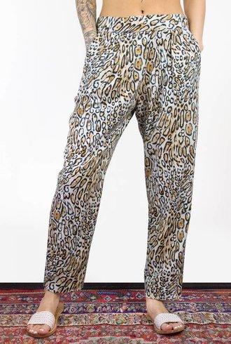 Raquel Allegra Leopard Silk Noil Easy Pant Classic