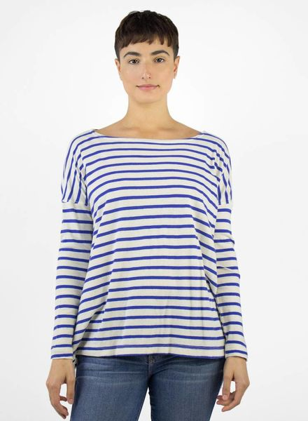 The Great The Sailor Stripe Tee Blue-Cream