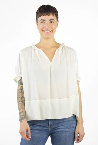 The Great The Story Short Sleeve Silk Top Cream