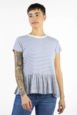 The Great The Ruffle Tee Blue Stripe