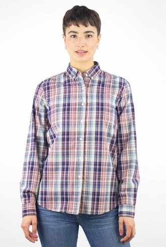 Trovata Plaid Button Up Shirt Brown Navy