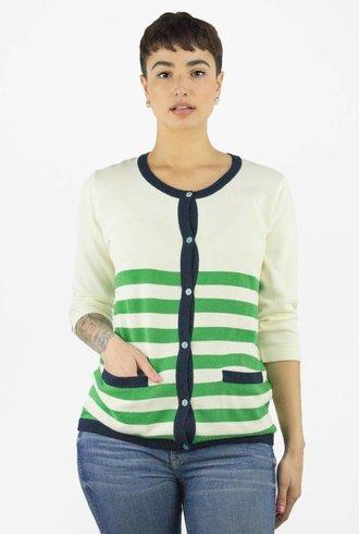 Trovata Classic Stripe Cardi Ivory Green