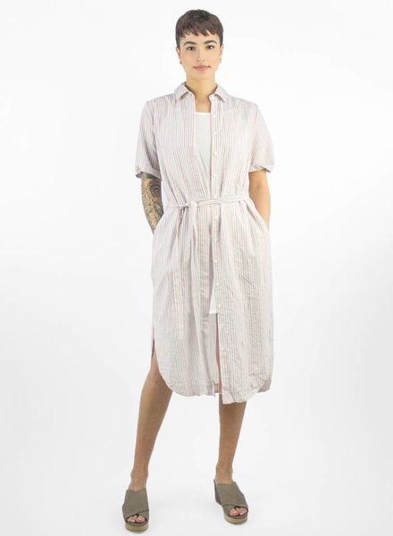 Trovata Florence Short Sleeve Shirtdress Red & Blue Stripe