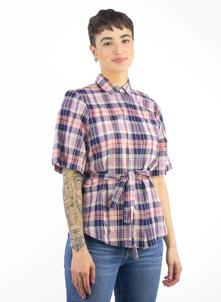Trovata Natalie Short Sleeve Shirt Pink & Navy
