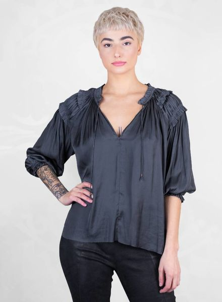 Ulla Johnson Amaya Satin Blouse Midnight
