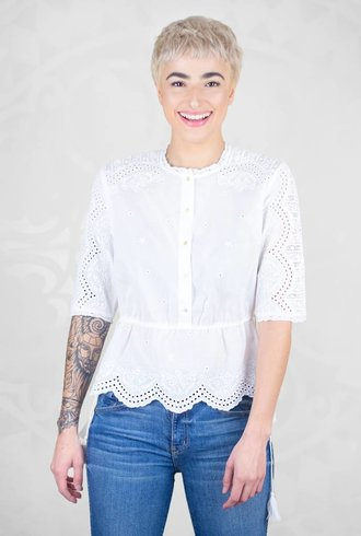 Ulla Johnson Quincy Bandana Blouse Blanc