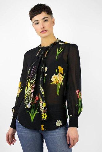 Warm Bow Blouse Noir Floral