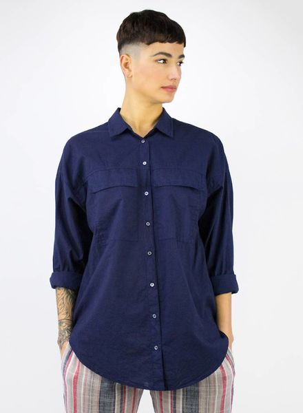 Xirena Garret Cotton Poplin Navy
