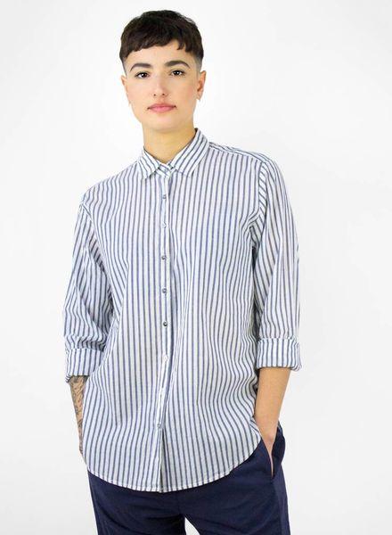Xirena Beau Cotton Stripe Shirt Marine Blue